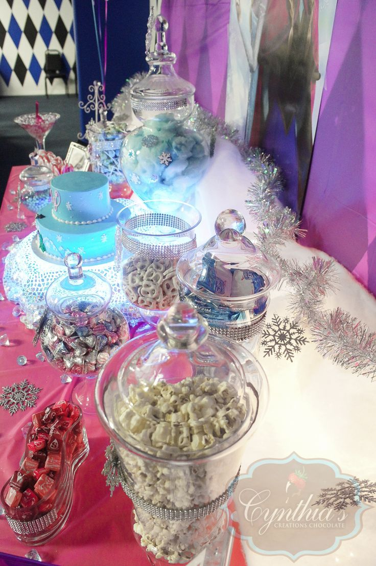 Frozen theme candy buffet, desert table at the ice rink