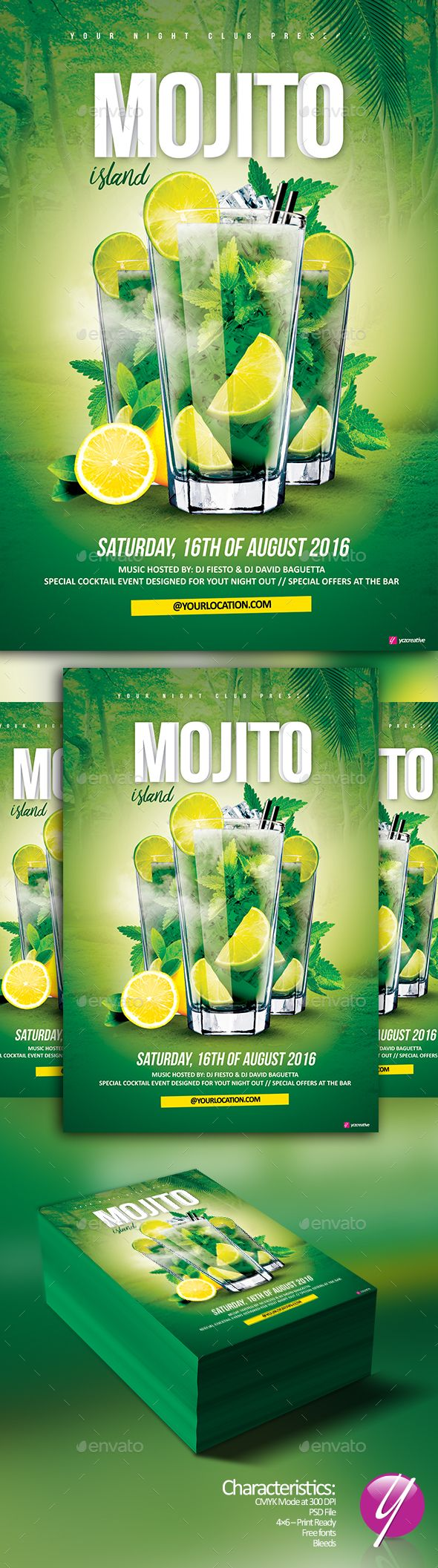 Mojito Island Cocktail Flyer Template PSD. Download here: http://graphicriver.net/item/mojito-island-cocktail/16461579?ref=ksioks