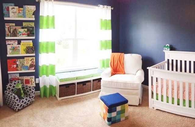 Navy Blue and Bright Green Nursery - fab color combo!: Color Combos, Blue Wall, Wall Color, Baby Boys, Blue Orange, Projects Nurseries, Book Shelves, Green Nurseries, Color Trends