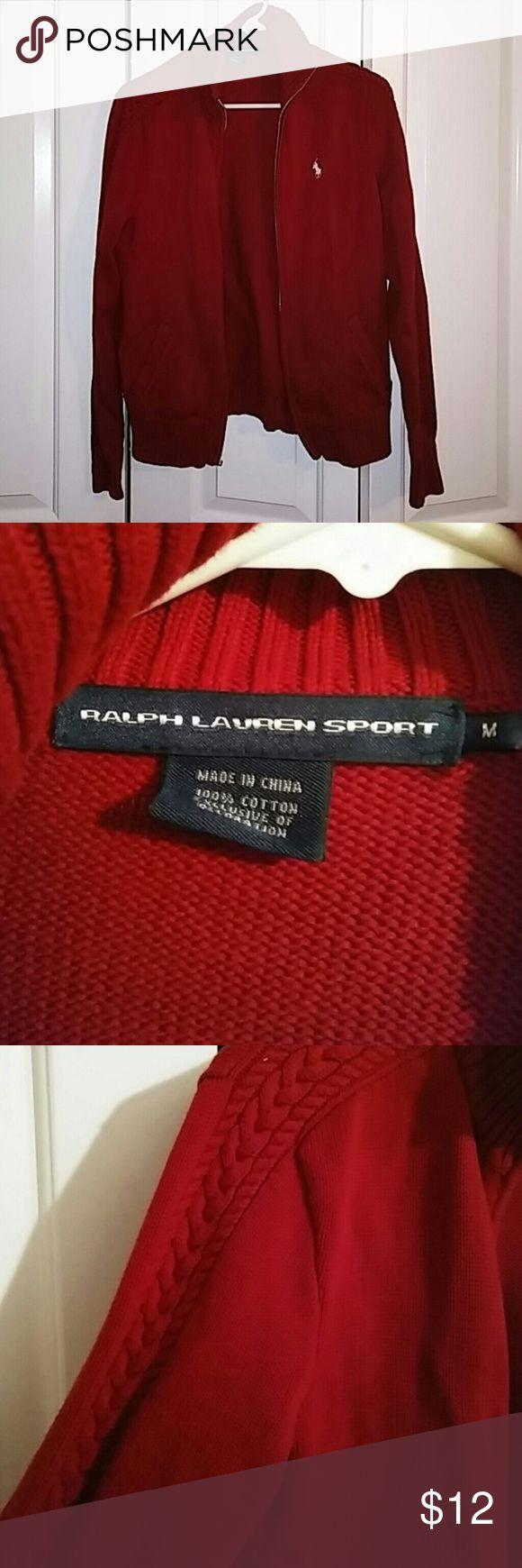 Ralph Lauren Sport Sweater Women's size medium, red, zip-up Ralph Lauren Sweaters