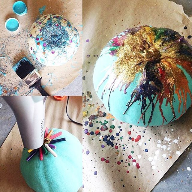 ✨making pumpkins even better with glitter, jg paint, and melted crayons. ✨ ////\|||| follow link in profile for all our painted pumpkin pics!! #glitter #pumpkins #diy #craft #junkgypsypaint