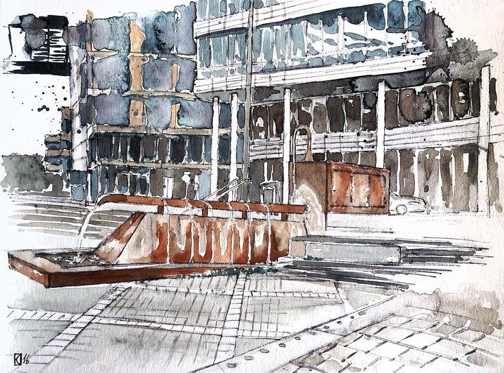Aleisa - Stuttgart Pariser Platz - Tusche und Aquarell - Din A4