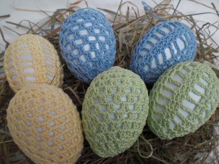 Ostereier - 6 behäkelte Ostereier in grün, blau und gelb - ein Designerstück von Pfiffiges bei DaWanda