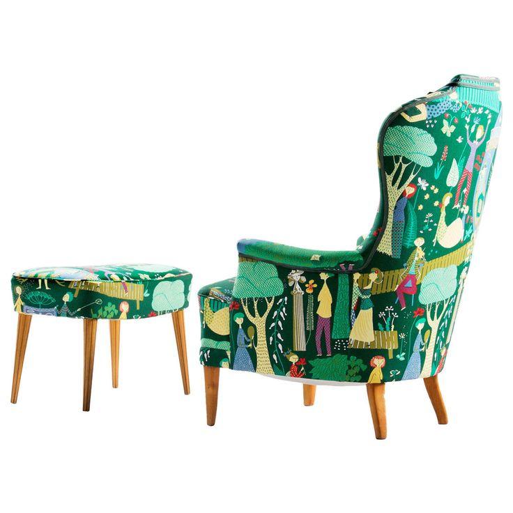 """Carl Malmsten 'Farmor' Lounge Chair and Ottoman for OH Sjogren in Stig Lindberg """"Eden"""" textile ca.1960's"""