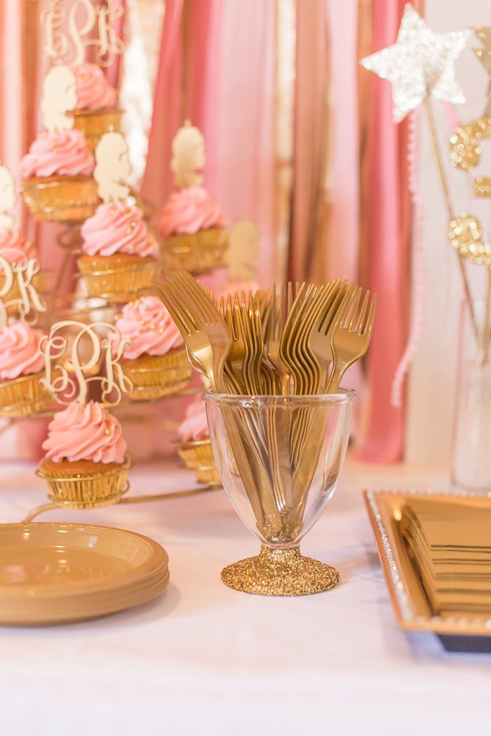Pink & Gold Princess themed birthday party via Kara's Party Ideas KarasPartyIdeas.com | The Place for All Things Party! #pinkandgoldprincessparty (18)