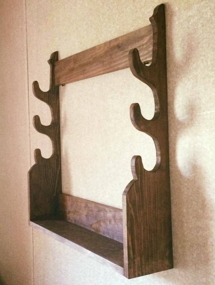 Hand Crafted Wooden Rifle Shotgun Wall Display 3 Gun Rack