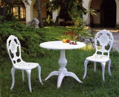 Mesa de fundición Aluminio  y sillas de la coleccion FLORIDA