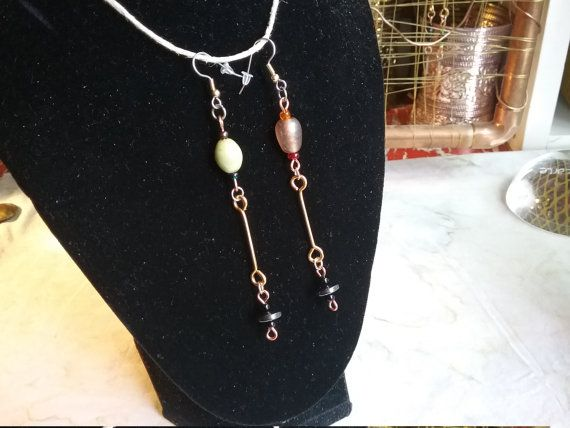 Check out Mismatched Indian Glass Hematite Brass Barbell Earrings on cherokeedancing