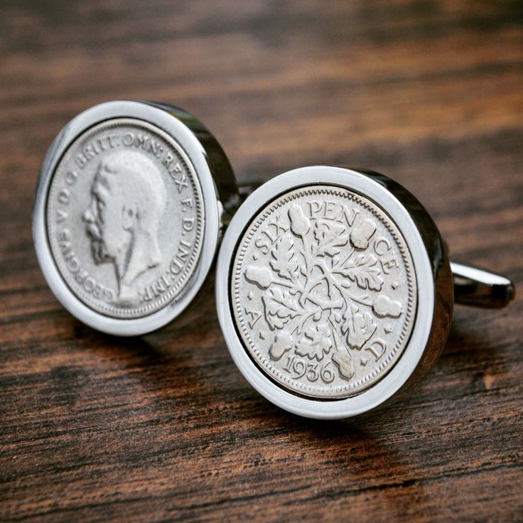 1936 Sixpence Cufflinks- 80th Birthday 6d Coin Cufflinks Mens Anniversary Present Gift Lucky Cufflinks Birth Year by JFoxCufflinks on Etsy