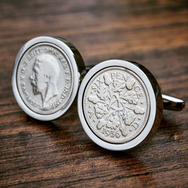 1936 Sixpence Cufflinks- 80th Birthday 6d Coin Cufflinks Mens Anniversary Present Gift Lucky Cufflinks Birth Year by JFoxCufflinks on Etsy