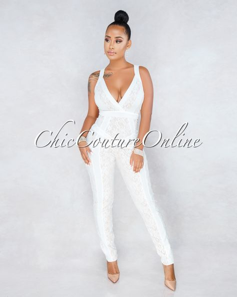 3201070d61d Chic Couture Online - Persia White Nude Illusion Lace Overlay Jumpsuit