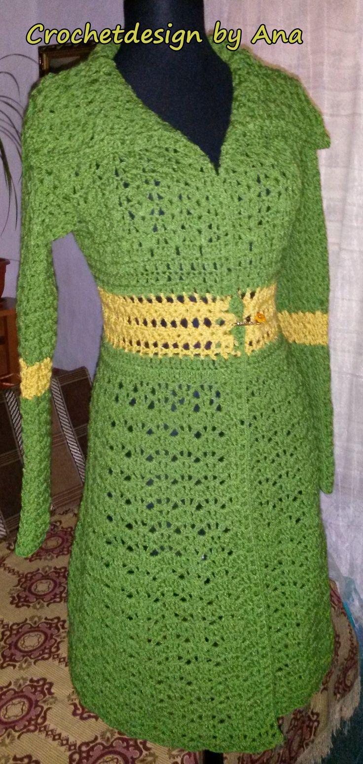 Long elegant cardigan crochet green
