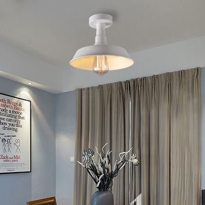 10'' Wide White Finish Small Semi Flush Light with Warehouse Shade