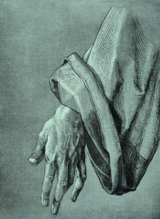 Albrecht Durer 'Study of the left hand of an apostle' for The Heller Altar (1508).