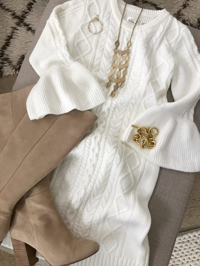 d667cc6f90e 15 Fall Cute   Comfy Fall Outfits- white bell sleeve sweater dress with  tall boots  fallfashion  falloutfit  outfitinspiration
