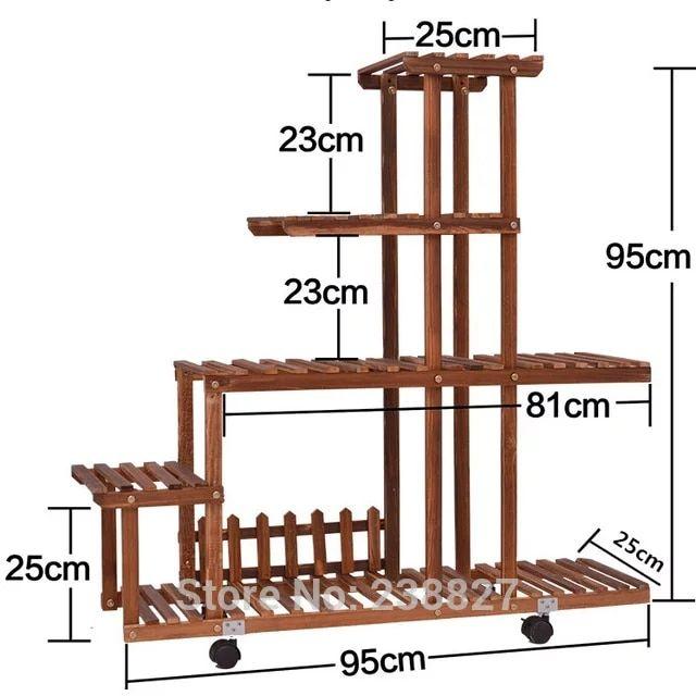 bois 4 niveaux pot de fleur supports maison jardin d cor. Black Bedroom Furniture Sets. Home Design Ideas