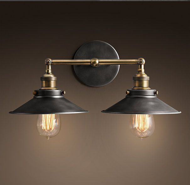 PURCHASED for Powder Bathroom - Restoration Hardware - 20th C. Factory Filament Metal Double Sconce