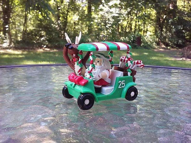 Golf Cart Clubs Santa And Reindeer Christmas Ornament Vintage 1995 Noma