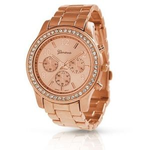 Bling Jewelry Geneva Rose Gold Plated Classic Round CZ Ladies Boyfriend Watch