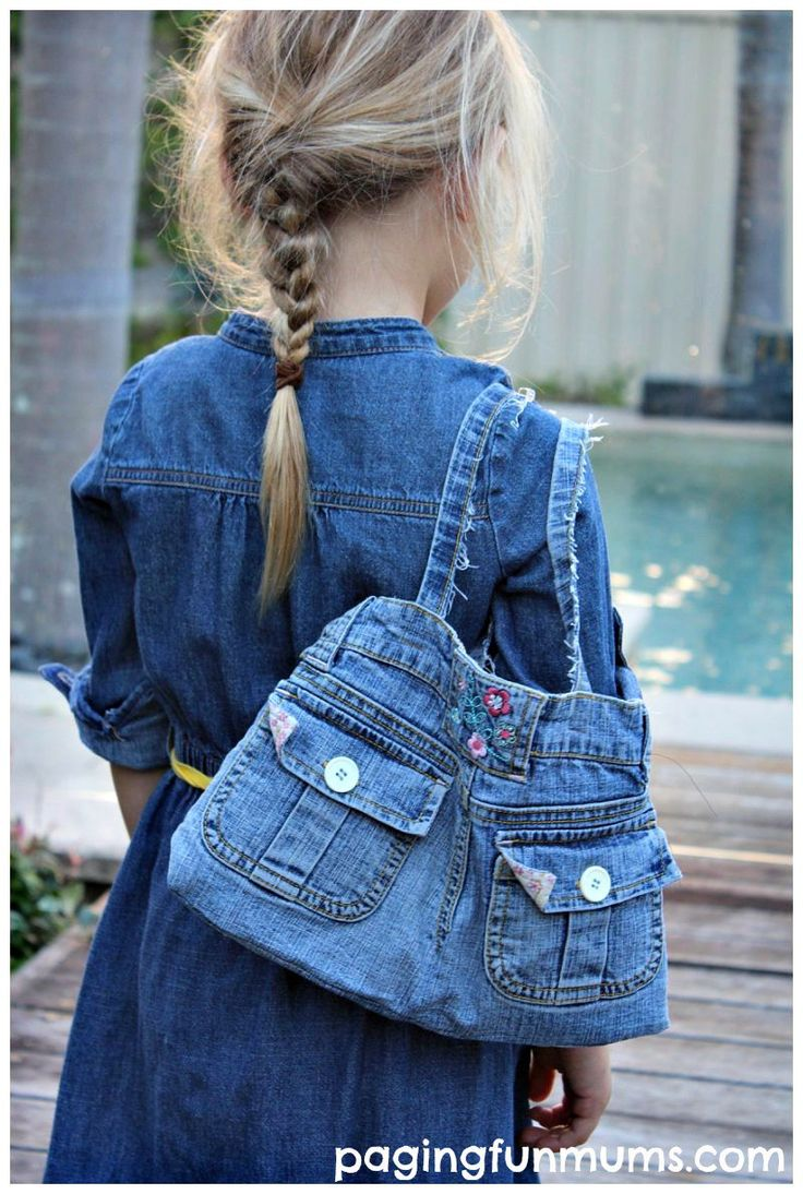 Stylish Denim Handbag made from an old pair of Jeans