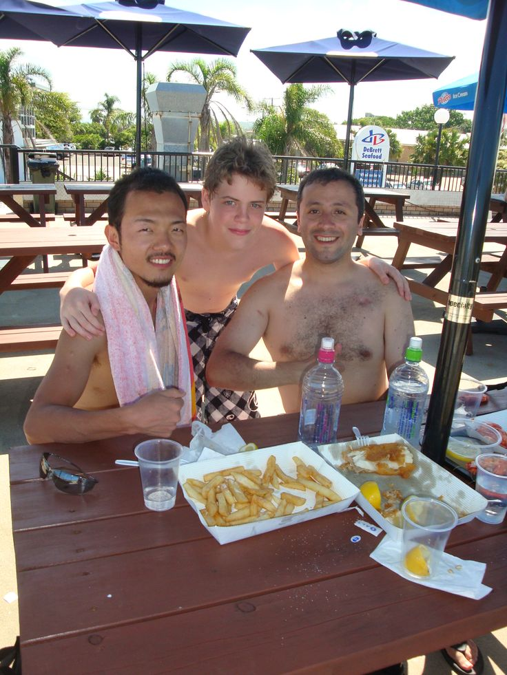 Masaki and Jamie with Harry up at Moolooabah jumping into some fresh seafood.