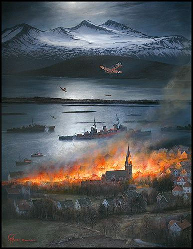Molde 29. april 1940 - Rolf Grovens nettgalleri - The 9th of April 1940 Norway was attacked by the Nazies. , was taken by the Germans, and therefore Molde became an important centre of military forces. Both Norwegian and British battleships frequented the fjord and the military activity made Molde an obvious goal  of the German bombs - READ MORE ON LINK.