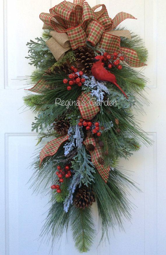 Christmas Swag-Christmas Cardinal by ReginasGarden on Etsy