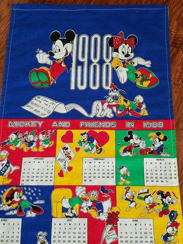 By walt Disney co peter pan fabrics inc. Cloth calendar from 1988. Measures 34.5 by 15.5.   eBay!