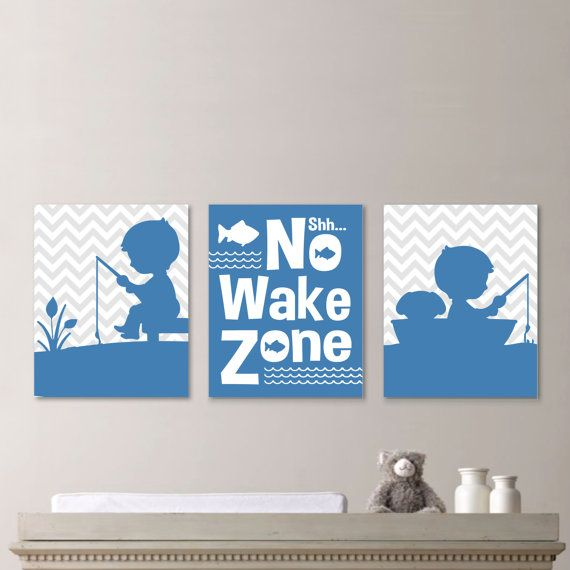 Baby Boy Fishing Nursery Art:  This is a three-print set, featuring two prints with the images of a little boy fishing on a light gray chevron