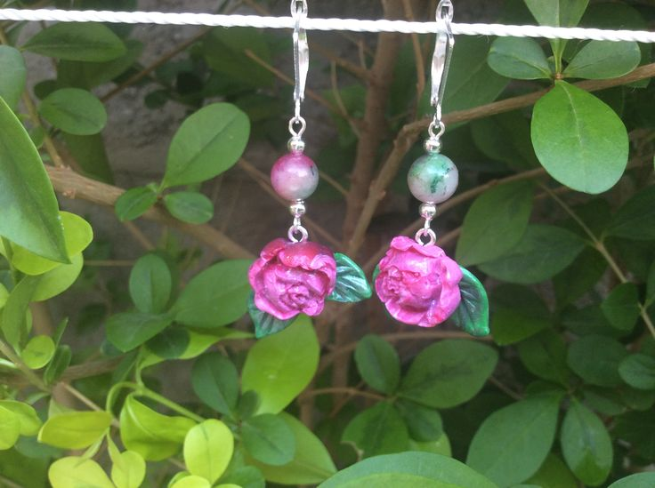Fashion spring summer handmade earrings in polymer clay and natural tourmaline. Atavikals collection .