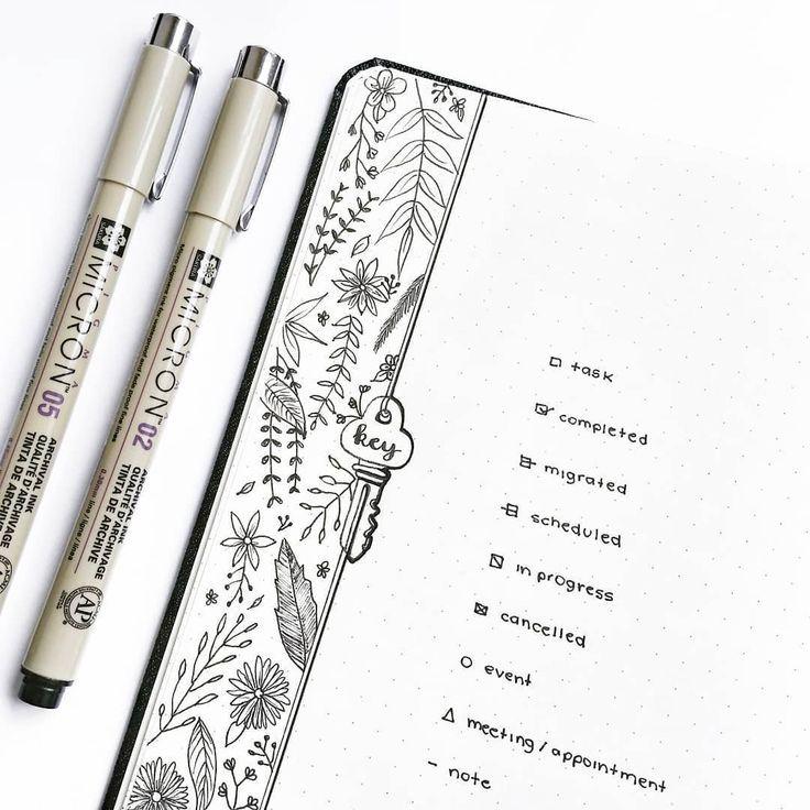 Bullet journal key drawing, botanical drawings. | @thestudiesphase