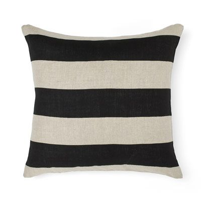 Wide Stripe Cushion in Black 50cm