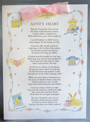 This is our most popular pin! Tells me something about the heart and soul of a beloved Aunt. Put this one-of-a-kind card in your niece or nephews baby book for a real keeper. .99 cent shipping! Author: Teri Harrison