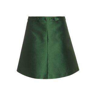 Green satin skirt