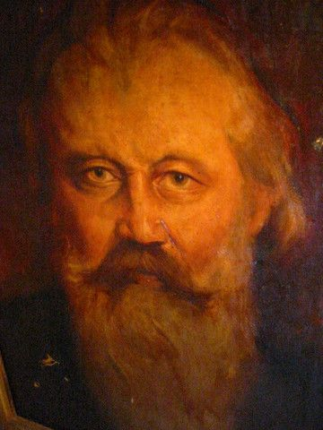 White Beard Male Portrait Oil on Canvas – Designer Unique Finds