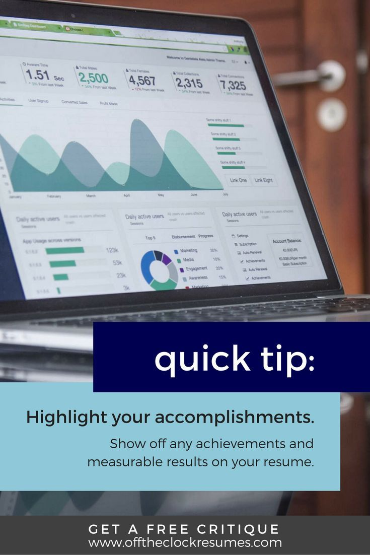 Resume Quick Tip: Employers love measurable accomplishments! Your resume should highlight your achievements and results. Find out if your resume is working with a free critique from our Certified Professional Resume Writers   Off The Clock Resumes