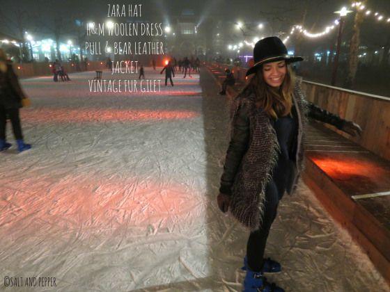 Christmas look - dress, hat, skates, gilet