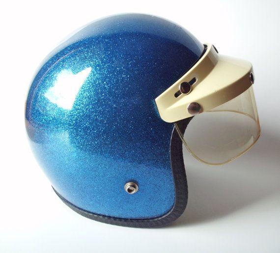 Vintage Blue Metalflake DOT Motorcycle Helmet by PoorLittleRobin, $70.00