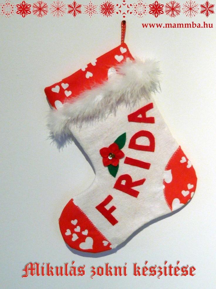 Névre szóló Mikulás zokni, szabásmintával/Personalized Santa Stocking with free pattern