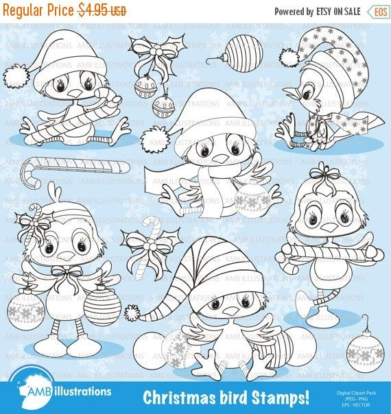 80% OFF Bird digital stamp Christmas digital by AMBillustrations