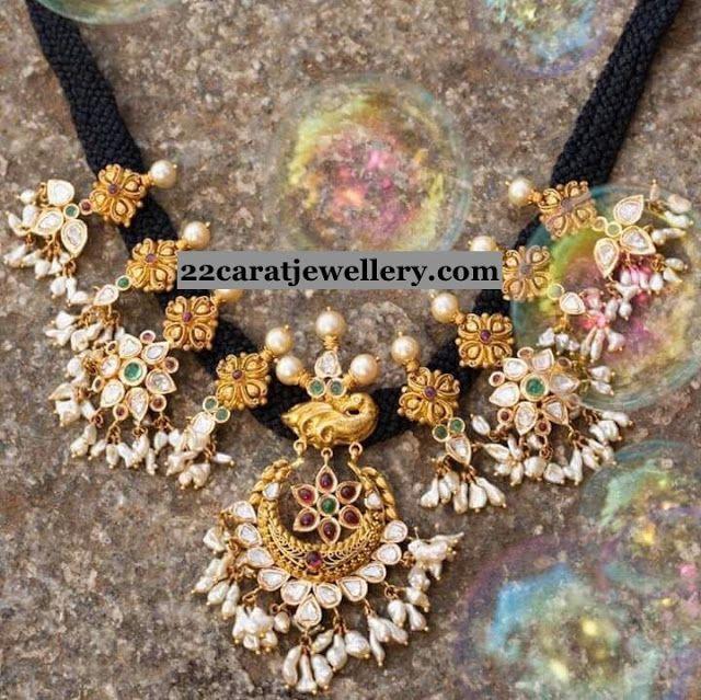 Black Thread Set with Kundan Pearl Clasps