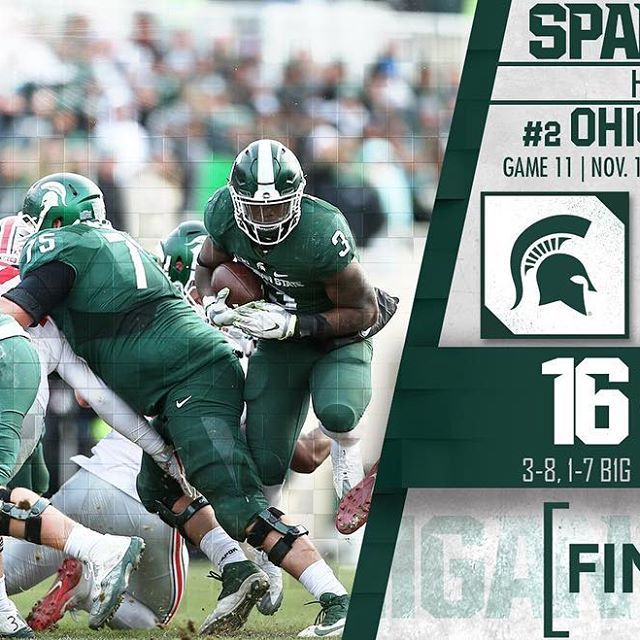 Final from East Lansing: Michigan State 16, No. 2 Ohio State 17. #GoGreen