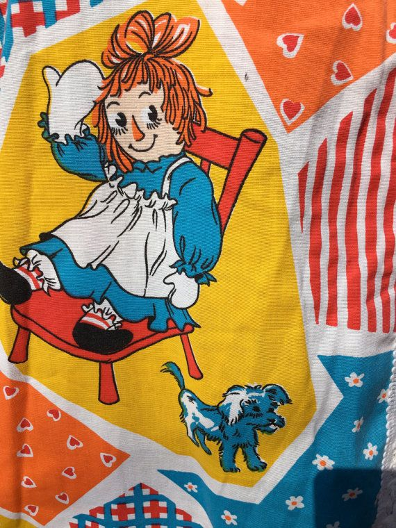 RARE Raggedy Ann and Andy Twin size bed cover by PhloxDesignsLLC