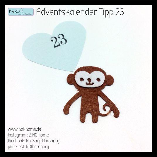 #Adventskalender #Tipp 23: Warum eigentlich immer Rentiere? Niedlicher #Affe aus #Filz. Zum dekorieren oder verbasteln in Deinem nächsten #DiY Projekt. Das perfekte Kleingeschenk für den Adventskalender. Diverse Motive bei uns im Laden. #NOI home & fashion, #Schanzenstrasse 81 in #Hamburg #Geschenk #basteln #Advent