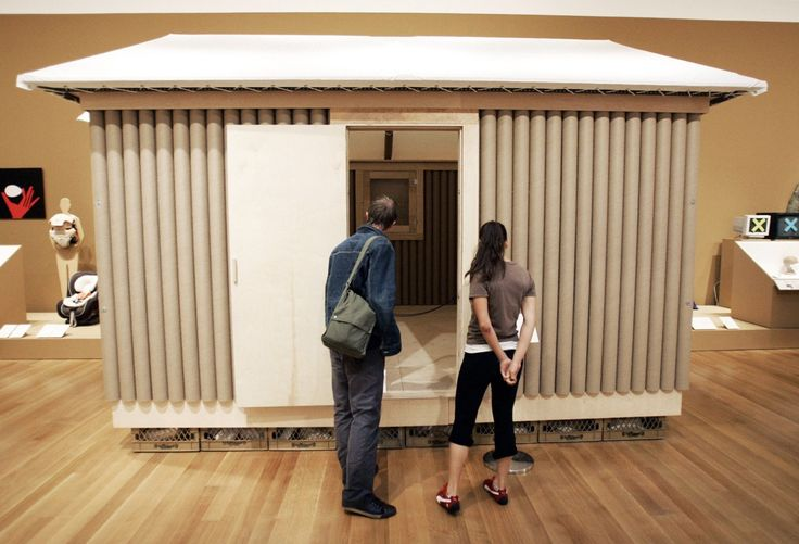 Shown here at a 2005 exhibition in New York's Museum of Modern Art, the Paper Log House was originally created as a temporary shelter for victims of the 1995 earthquake in Kobe, Japan. The structure featured walls made with cardboard tubes stuffed with shredded paper insulation and a ceiling made with cardboard, fiberglass insulation, and plastic sheets.