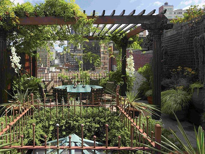 Love this roof top terrace vine covered pergola patio for Terrace pergola