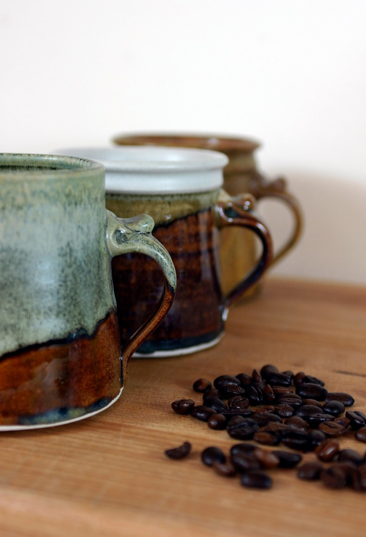 Vintage Roycroft Pottery Stoneware Mugs Set of 3. $ 30.00, via Etsy.
