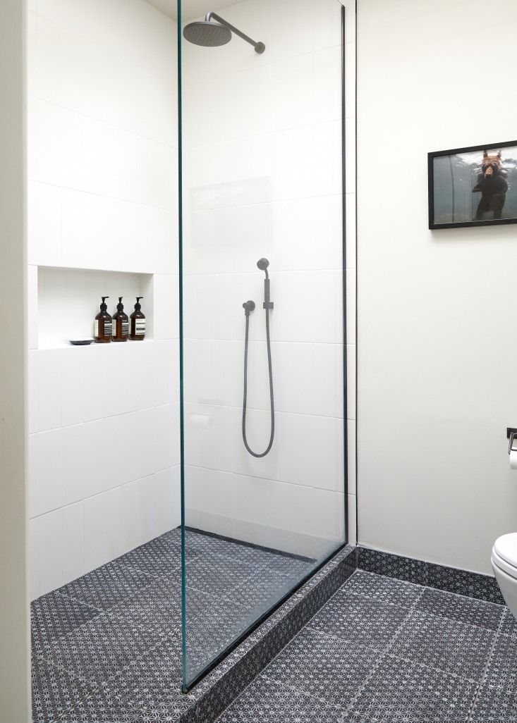 Glass Shower In Architect Jess Thomas Brooklyn Bath Remodel. Kate Sears  Photo.