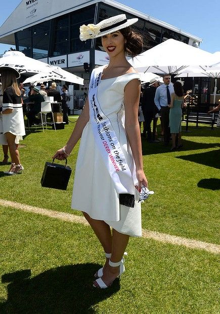 Myer fashions on the field winner Ashleigh Albanese showing off her outfit she made herself overnight for the Victorian Derby Day at Fleming...