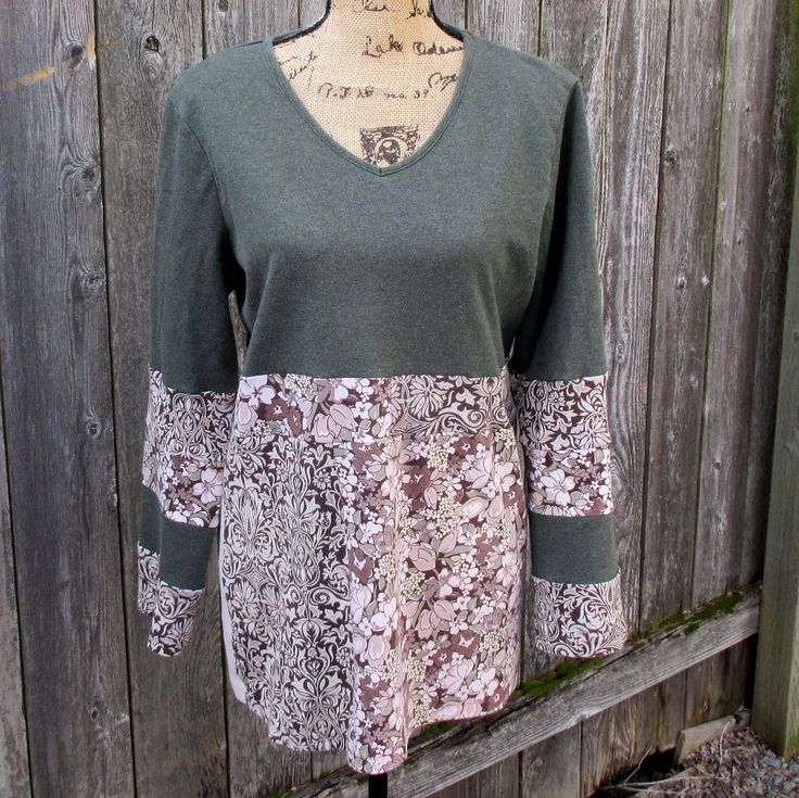 Women's Tunic Top - Recycled Clothing - Long Sleeve Tshirt - Vegan Clothing - Ecofriendly - Sage Brown - Earth Tones - Casual Clothing by ThankfulRose on Etsy